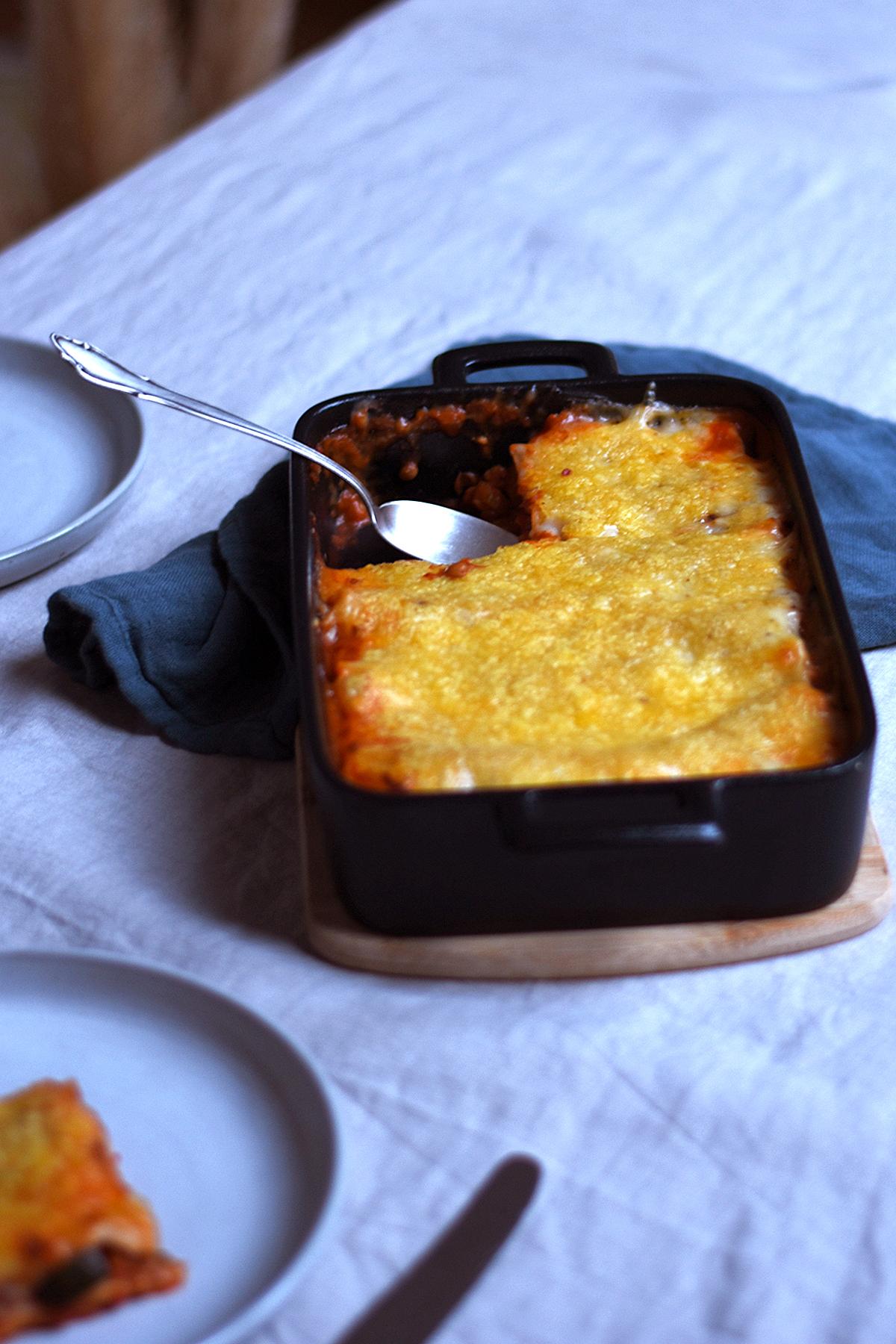Lasagne mit Linsen, glutenfrei und vegan